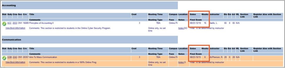 Class Schedule Example with boxes